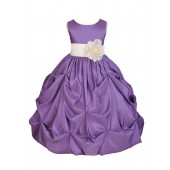 Purple/Ivory Satin Taffeta Pick-Up Bubble Flower Girl Dress 301S