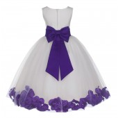 Ivory/Cadbury Tulle Rose Petals Flower Girl Dress Pageant 302T