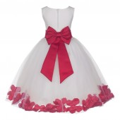 Ivory/Cherry Tulle Rose Petals Flower Girl Dress Pageant 302T