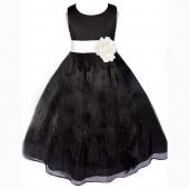 Black/Ivory Satin Bodice Organza Skirt Flower Girl Dress 841T