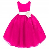 Fuchsia/Ivory Satin Bodice Organza Skirt Flower Girl Dress 841T