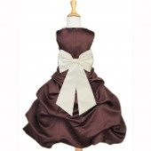 Brown/Ivory Satin Pick-Up Bubble Flower Girl Dress Occasions 808T