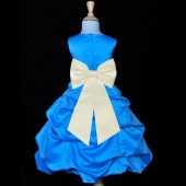 Turquoise/Ivory Satin-Pick-Up Bubble Flower Girl Dress Recital 808T