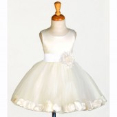 Ivory/Ivory Rose Petals Tulle Flower Girl Dress Pageant 305S