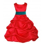 Red/Jade Satin Pick-Up Bubble Flower Girl Dress Christmas 806S