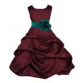 Burgundy/Jade Satin Pick-Up Bubble Flower Girl Dress Event 808T