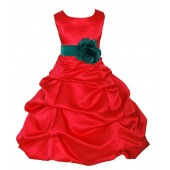Red/Jade Satin Pick-Up Bubble Flower Girl Dress Christmas 808T