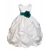 Ivory/Jade Satin Taffeta Pick-Up Bubble Flower Girl Dress 301T