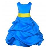 Royal Blue/Lemon Satin-Pick-Up Bubble Flower Girl Dress 806S