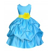 Turquoise/Lemon Satin Pick-Up Flower Girl Dress Receptions 208T