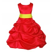 Red/Lemon Satin Pick-Up Bubble Flower Girl Dress Christmas 806S