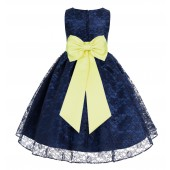 Navy Blue / Lemon Floral Lace Overlay Flower Girl Dress Elegant Beauty 163T