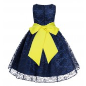 Navy / Lemon Floral Lace Overlay Flower Girl Dress Lace Dresses 163s