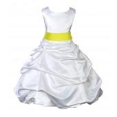 White/Lemon Satin Pick-Up Bubble Flower Girl Dress V2 806S