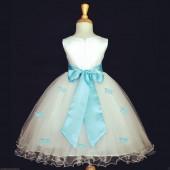 Light Blue Butterflies Tulle Flower Girl Dress Elegant Pageant 509S