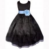 Black/Sky Satin Bodice Organza Skirt Flower Girl Dress 841T