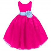 Fuchsia/Sky Satin Bodice Organza Skirt Flower Girl Dress 841T