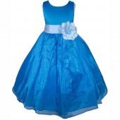 Royal Blue/Sky Satin Bodice Organza Skirt Flower Girl Dress 841T