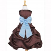 Brown/Sky Blue Satin Pick-Up Bubble Flower Girl Dress Occasions 808T