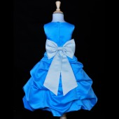 Turquoise/Sky Blue Satin-Pick-Up Bubble Flower Girl Dress Recital 808T