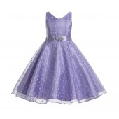 Lilac Organza Polka Dot V-Neck Rhinestone Flower Girl Dress 184