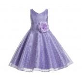 Lilac / Lilac Organza Polka Dot V-Neck Flower Girl Dress 184T