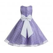 Lilac / White Organza Polka Dot V-Neck Flower Girl Dress 184T