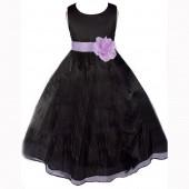 Black/Lilac Satin Bodice Organza Skirt Flower Girl Dress 841T