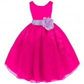 Fuchsia/Lilac Satin Bodice Organza Skirt Flower Girl Dress 841T