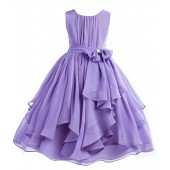 Lilac Yoryu Chiffon Ruched Bodice Rhinestone Flower Girl Dress 162S