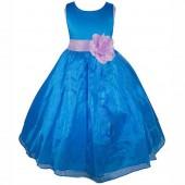 Royal Blue/Lilac Satin Bodice Organza Skirt Flower Girl Dress 841T