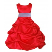 Red/Lilac Satin Pick-Up Bubble Flower Girl Dress Christmas 806S