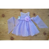Lilac/White/Lilac Polka Dot Organza Flower Girl Dress Dance Reception 1509U
