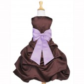 Brown/Lilac Satin Pick-Up Bubble Flower Girl Dress Occasions 808T