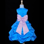 Turquoise/Lilac Satin-Pick-Up Bubble Flower Girl Dress Recital 808T