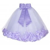 White / Lilac Floral Lace Heart Cutout Flower Girl Dress with Petals 185T
