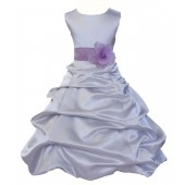 Silver/Lilac Satin Pick-Up Bubble Flower Girl Dress Stylish 808T