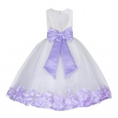 Ivory / Lilac Floral Lace Heart Cutout Flower Girl Dress with Petals 185T