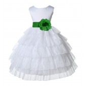 White/Lime Satin Shimmering Organza Flower Girl Dress Wedding 308S