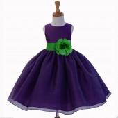 Purple/Lime Satin Bodice Organza Skirt Flower Girl Dress 841S