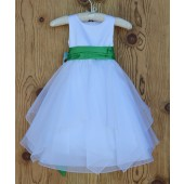 White/Lime Satin Bodice Shimmering Organza Flower Girl Dress J012