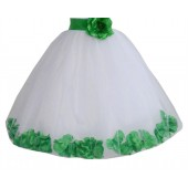White / Lime Green Floral Lace Heart Cutout Flower Girl Dress with Petals 185T