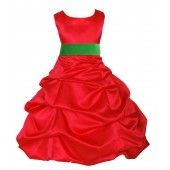 Red/Lime Satin Pick-Up Bubble Flower Girl Dress Christmas 806S