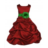 Apple Red/Lime Satin Pick-Up Bubble Flower Girl Dress 808T