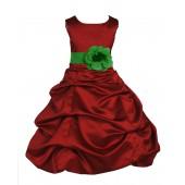Apple Red/Lime Satin Pick-Up Bubble Flower Girl Dress 808T