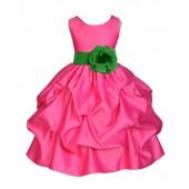 Fuchsia/Lime Satin Pick-Up Flower Girl Dress Recital 208T