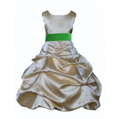 Gold/Lime Satin Pick-Up Bubble Flower Girl Dress Dazzling 806S