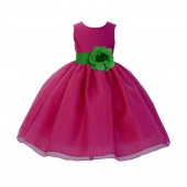 Fuchsia / Kelly Lime Green Satin Bodice Organza Skirt Flower Girl Dress Birthday 841S