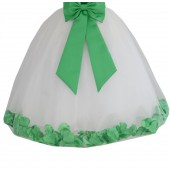 Ivory / Lime Green Floral Lace Heart Cutout Flower Girl Dress with Petals 185T