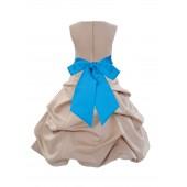 Champagne/Malibu Satin Pick-Up Bubble Flower Girl Dress Princess 806S